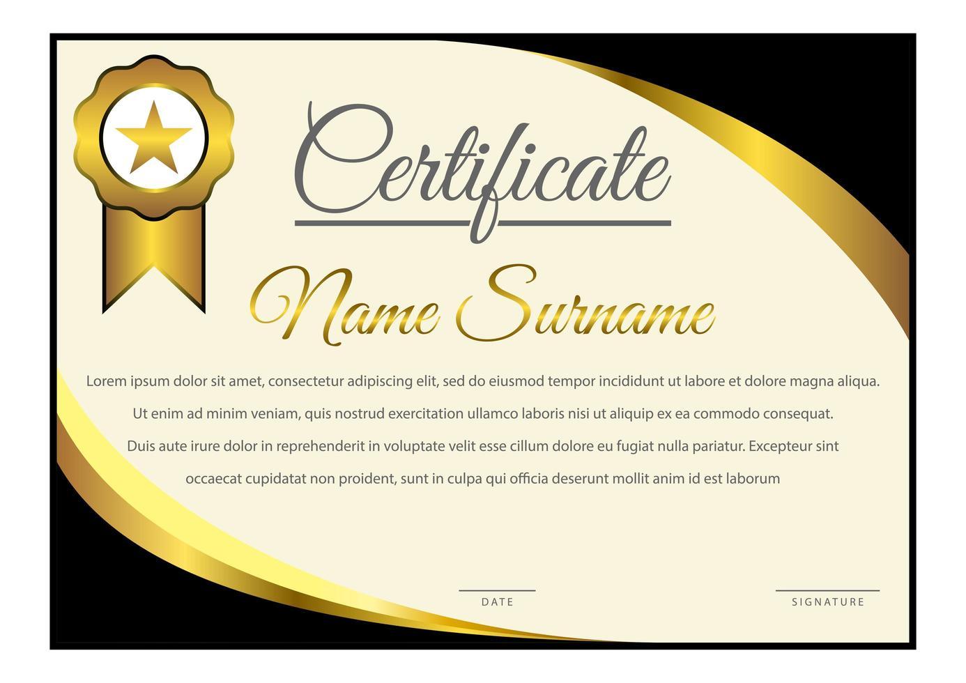 certificat de coin incurvé dégradé horizontal noir et jaune vecteur
