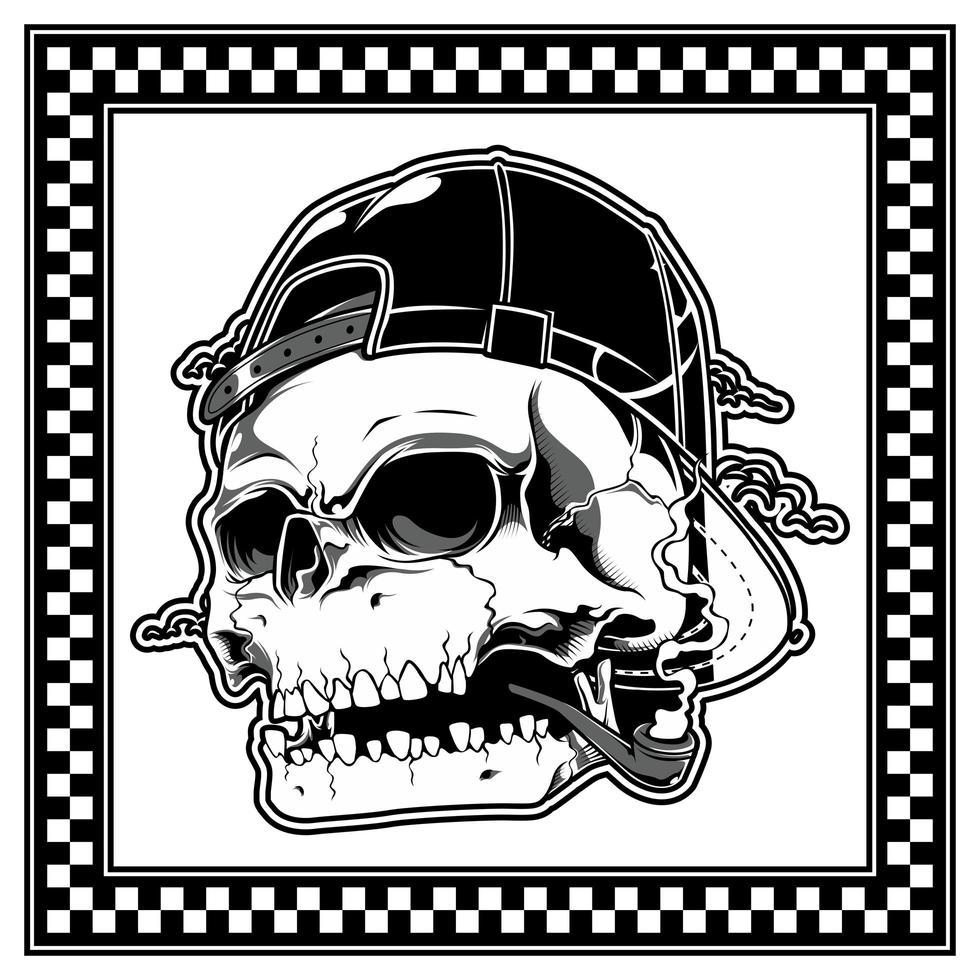 cráneo con sombrero y fumando una pipa vector