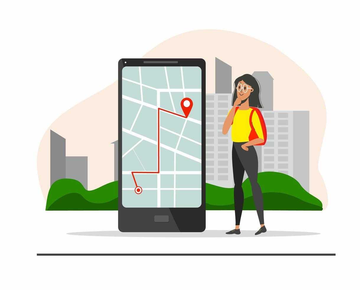 concept de route touristique avec fille regardant la carte vecteur