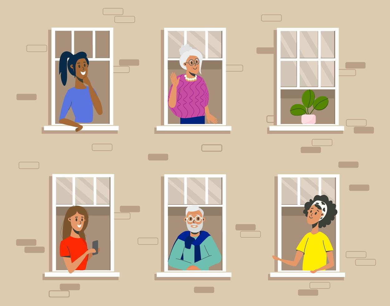 People in windows of residential building flat design vector