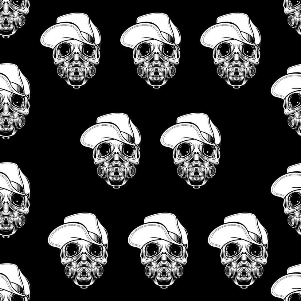 tête de crâne portant un chapeau et un masque à gaz vecteur