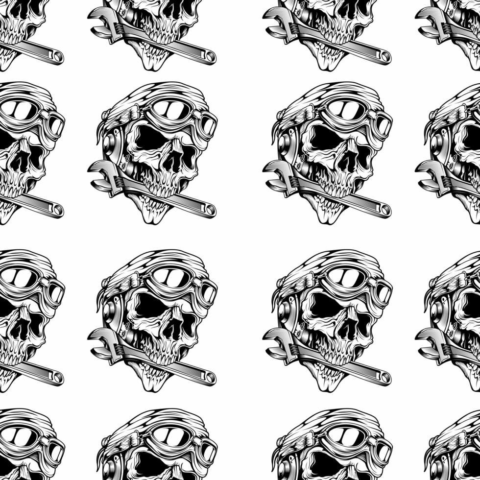 tête de crâne rétro avec clé en forme de bouche vecteur