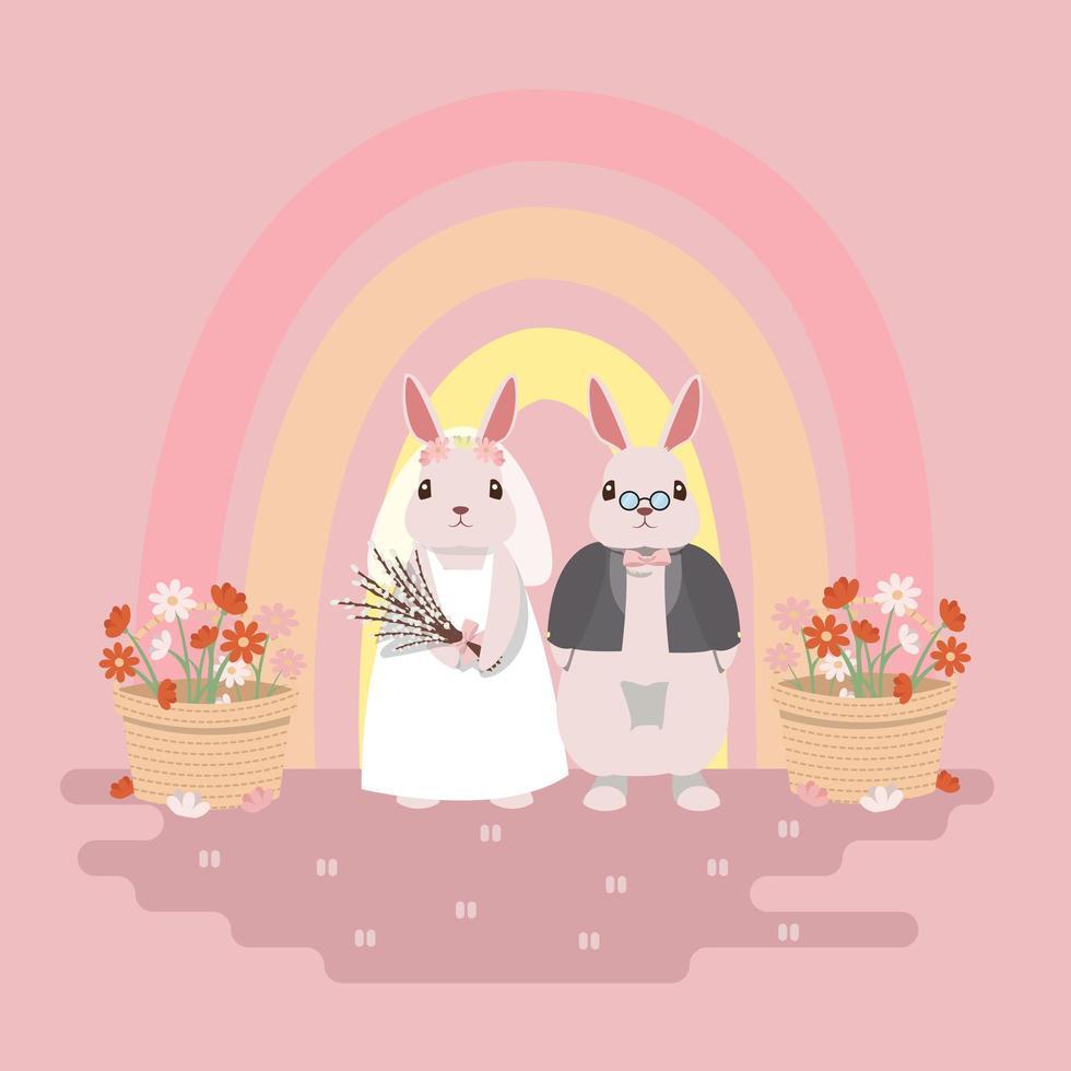 conception de mariage de couple lapin avec arc-en-ciel et fleurs vecteur