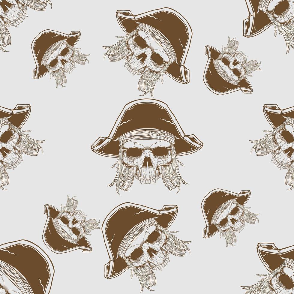 teschio pirata disegnato a mano senza cuciture vettore