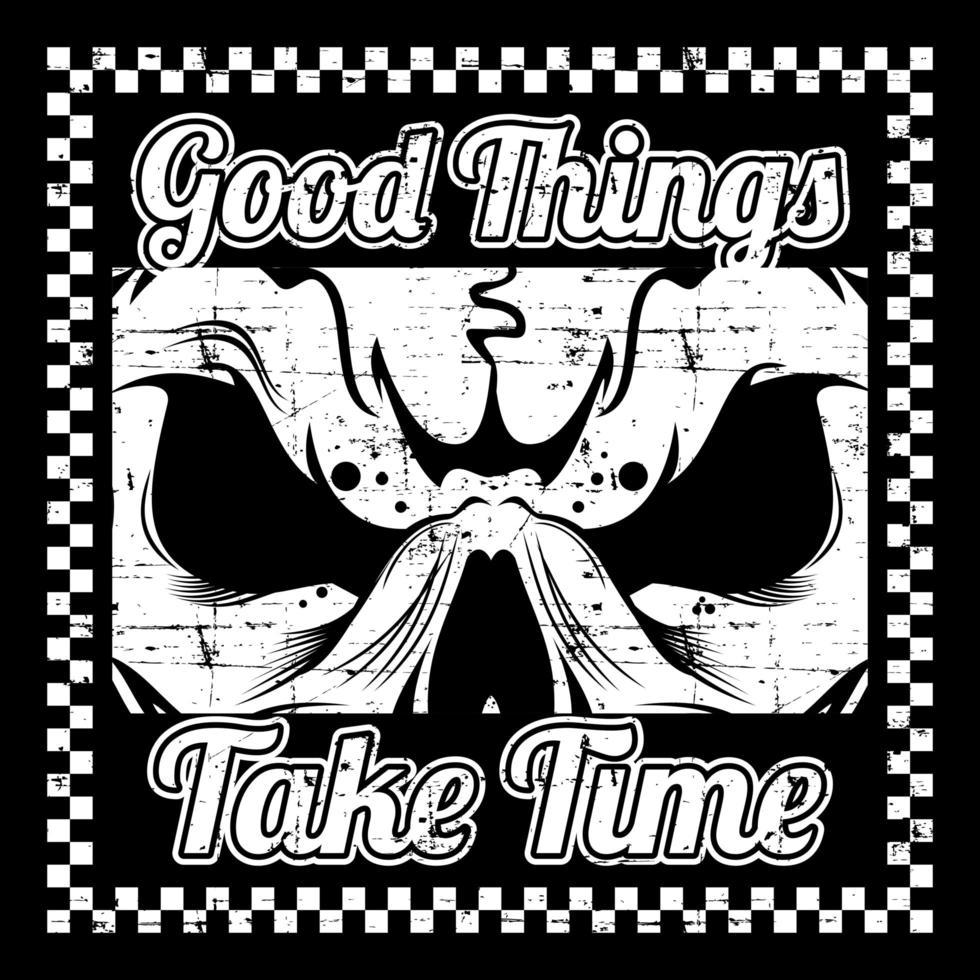teschio in stile grunge e slogan in cornice a scacchi vettore
