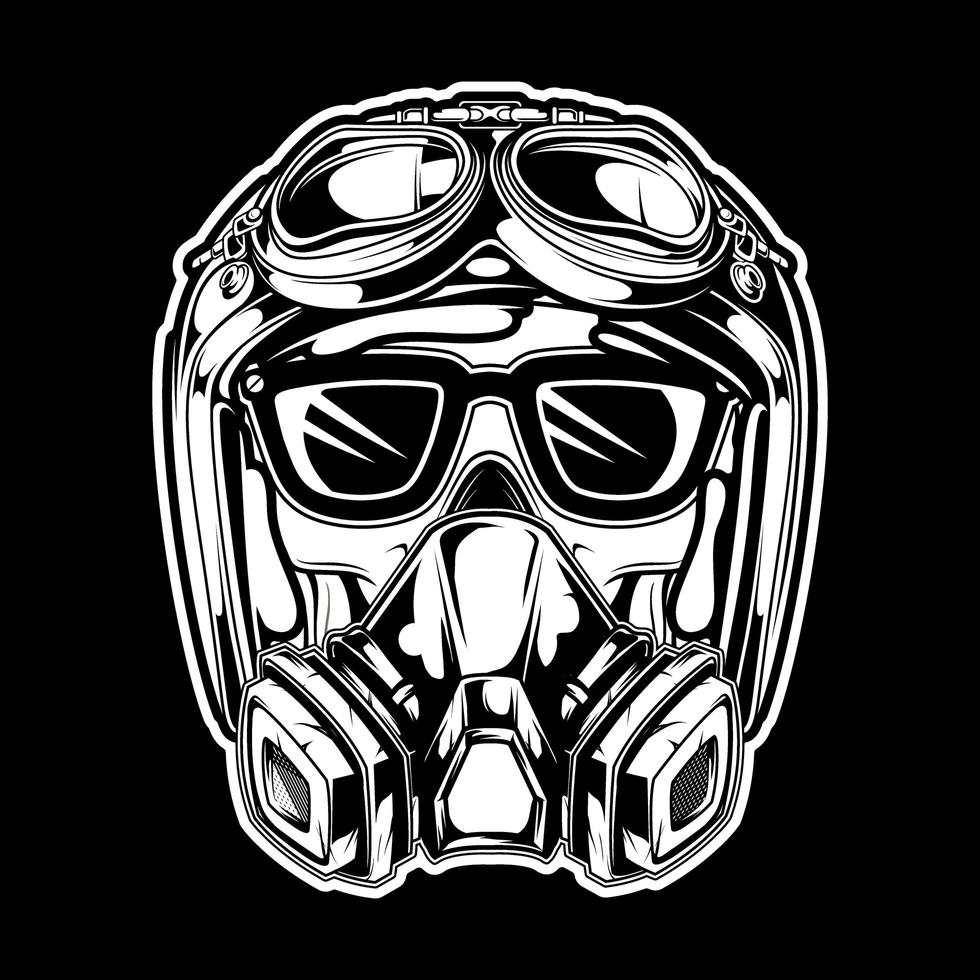 crâne portant un casque et un masque à gaz vecteur