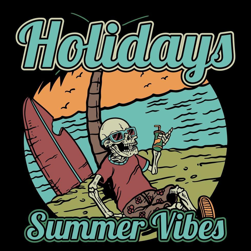 squelette avec cocktail assis sur la plage vecteur