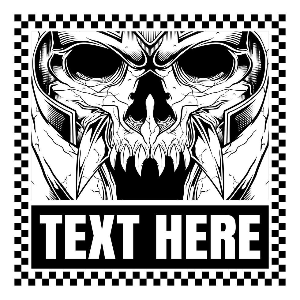 Monstre squelette portant un casque dans le cadre de texte à carreaux vecteur