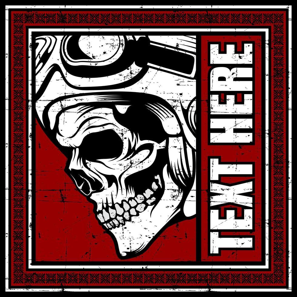 profilo laterale del cranio nella cornice di testo rossa vettore