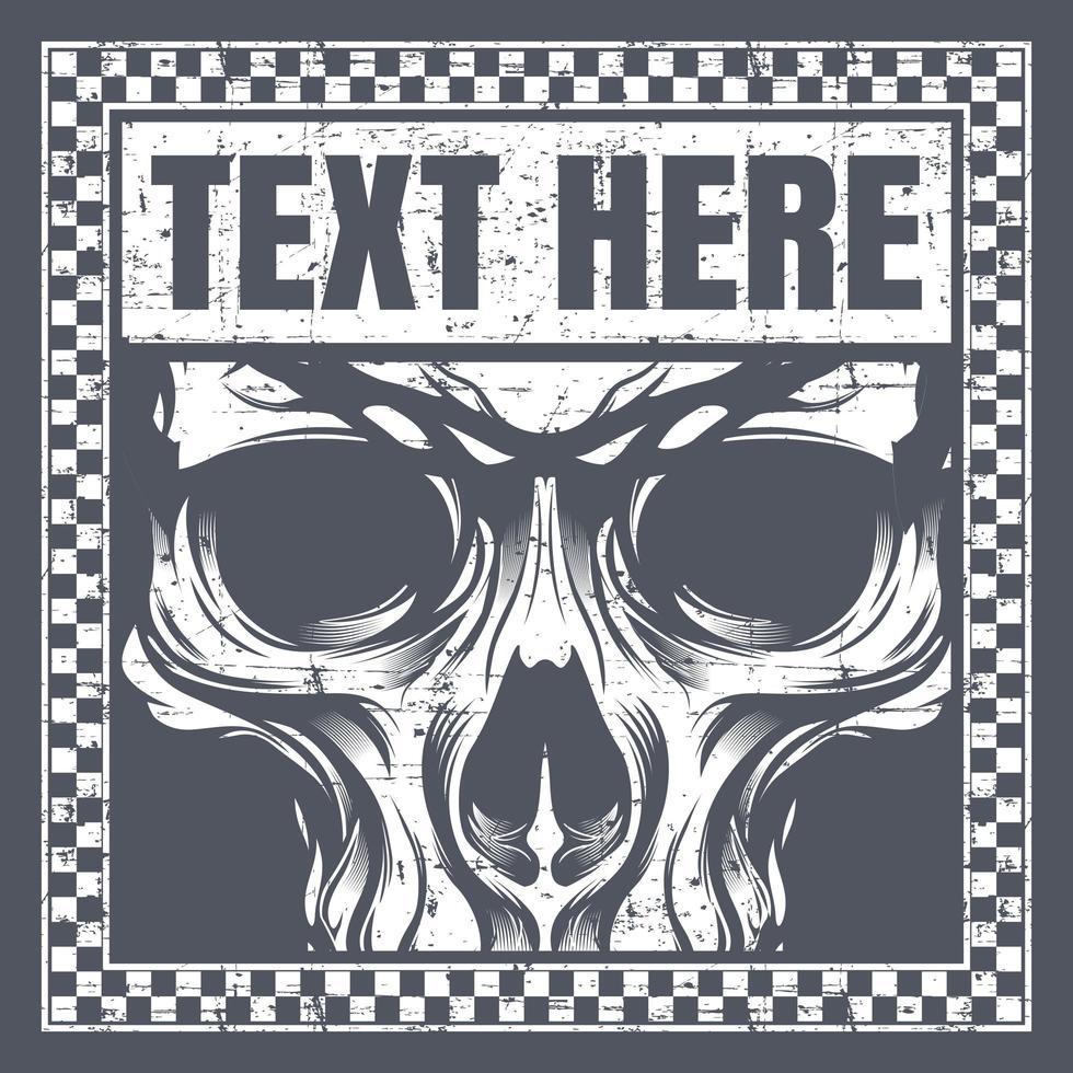 visage de crâne de style vintage dans le cadre de texte à carreaux vecteur