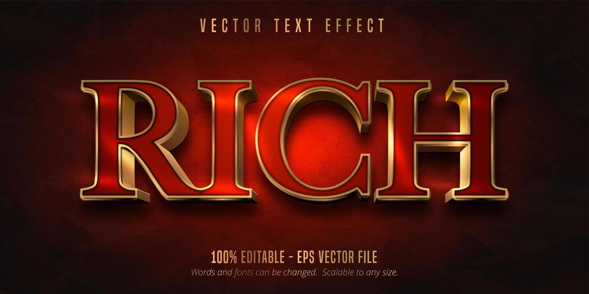 ricco effetto testo in stile oro rosso e lucido vettore