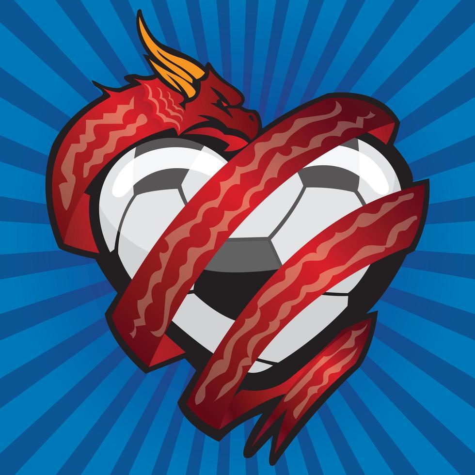dragon rouge enroulé autour d'un ballon de football en forme de coeur vecteur