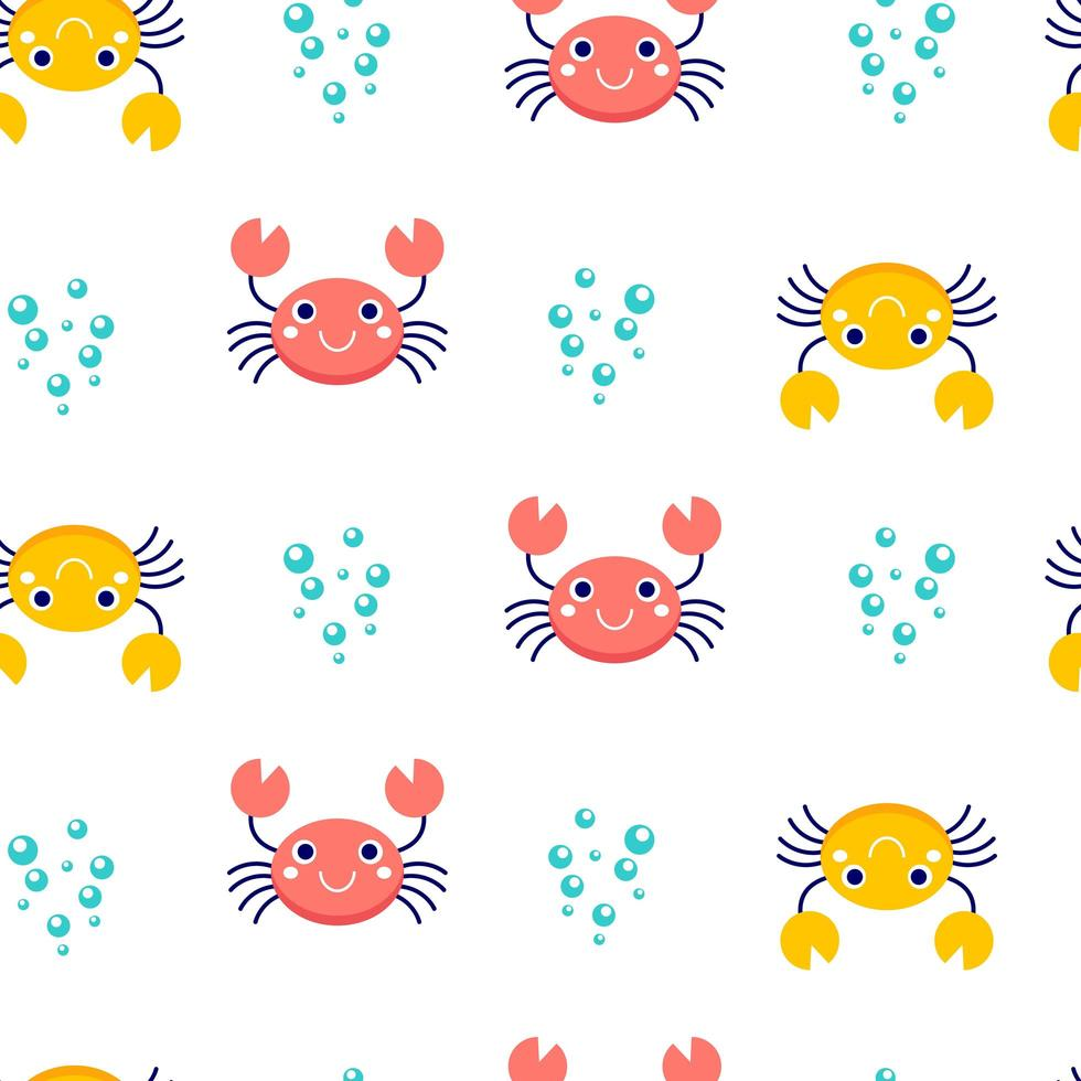 modèle sans couture avec crabes et bulles vecteur