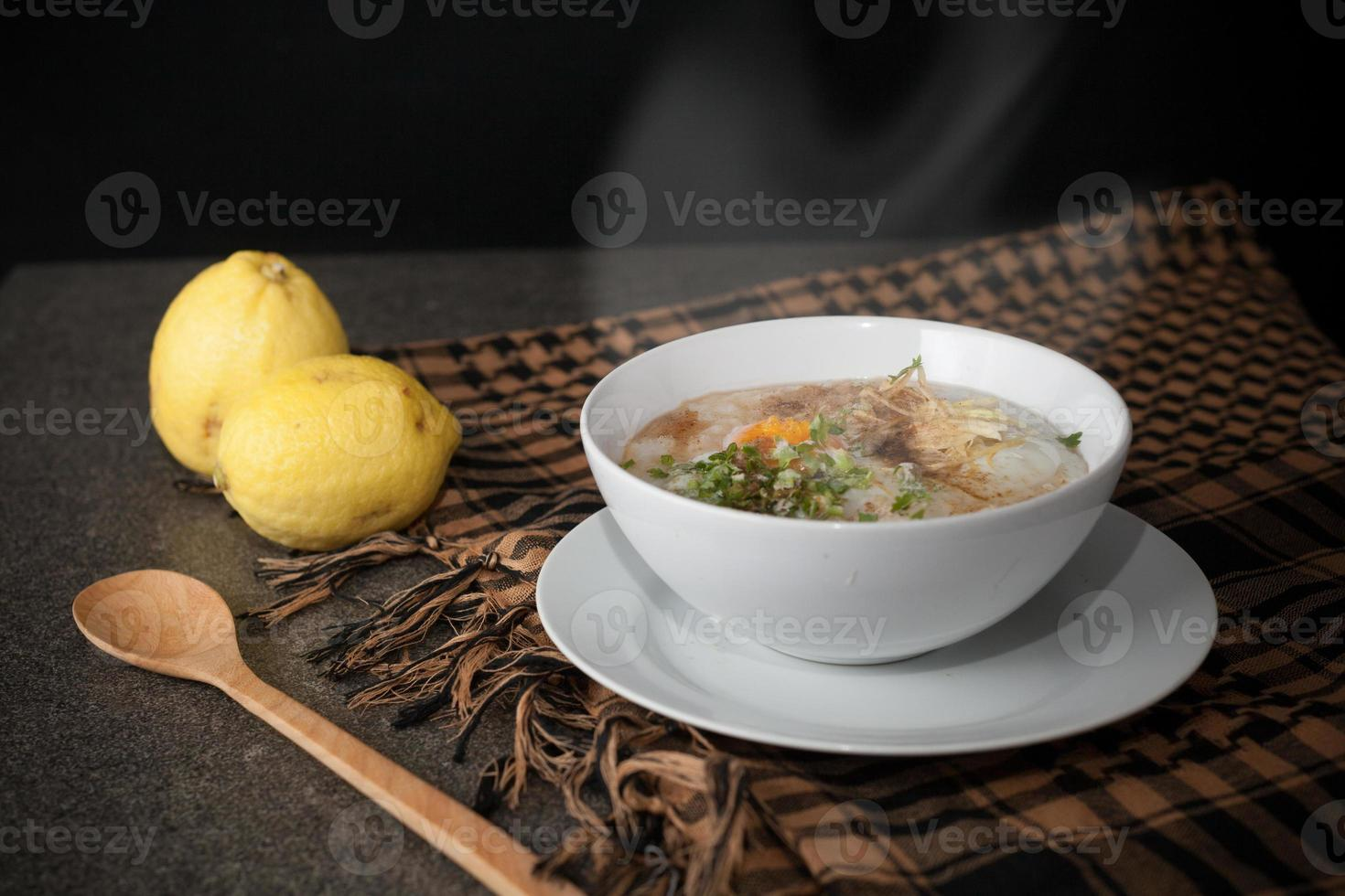steaming rice soup photo