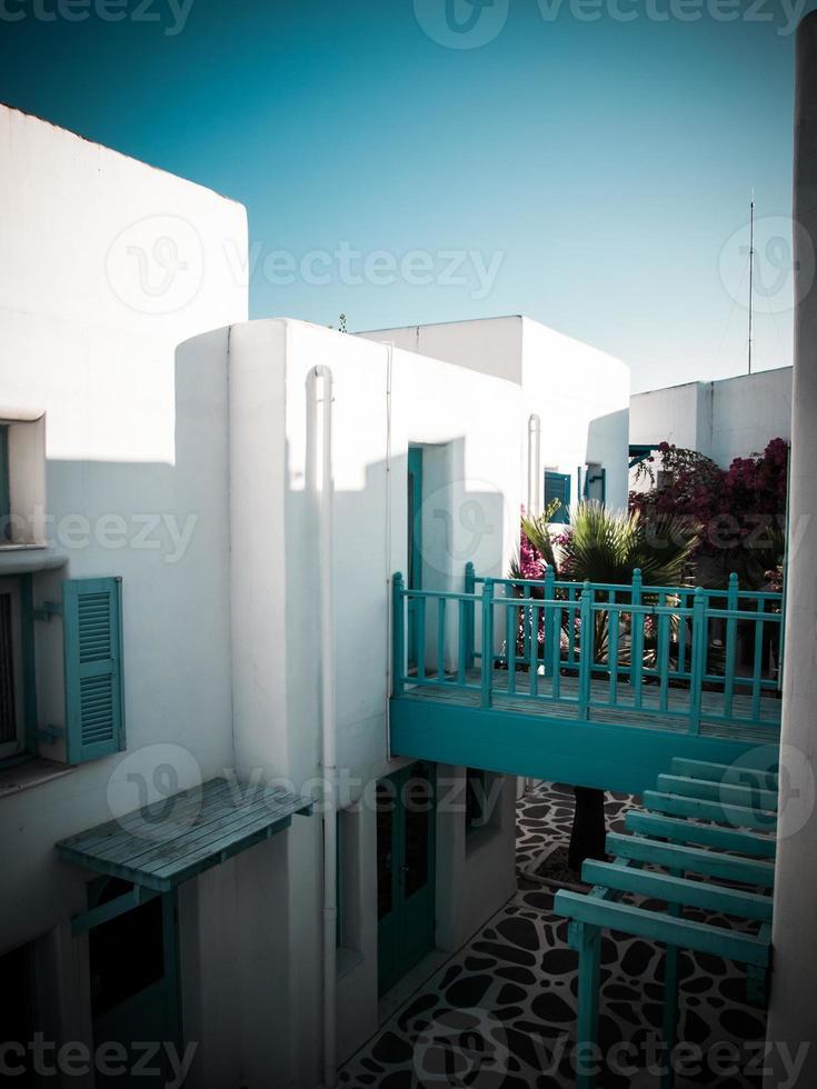 Light blue and white architecture  in Santorini. Greece retro st photo