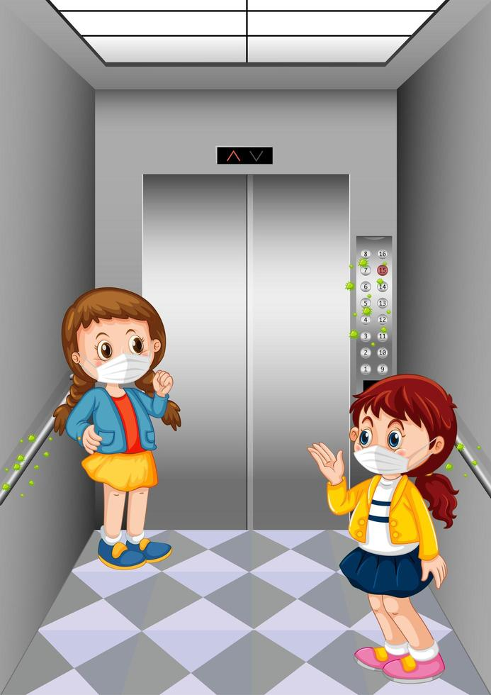 enfants, éloignement, ascenseur vecteur