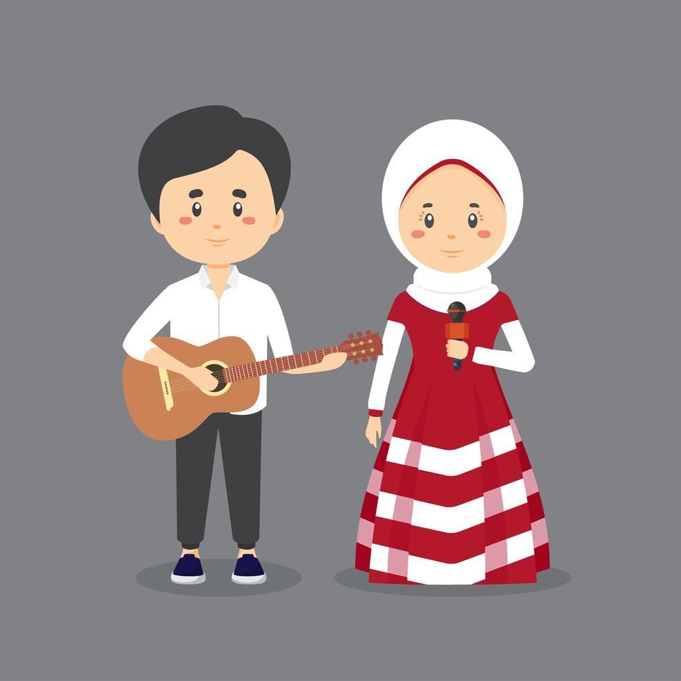 coppia islamica suonando la chitarra e cantando vettore