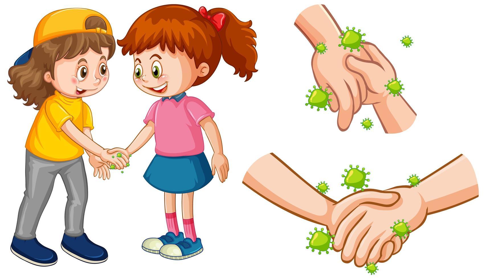 kinderen aanraken van handen verspreiden van virus vector