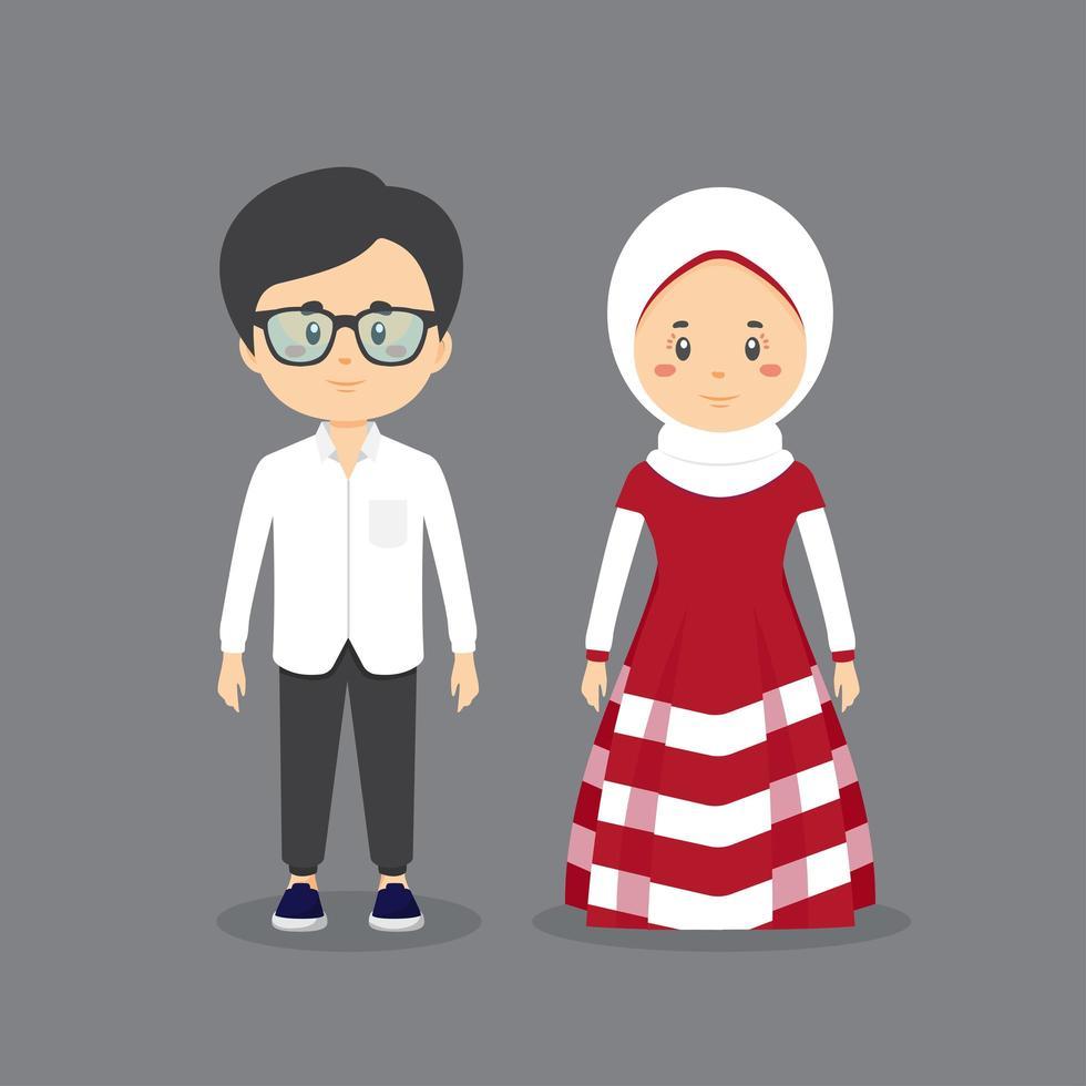 couple islamique portant des vêtements décontractés vecteur