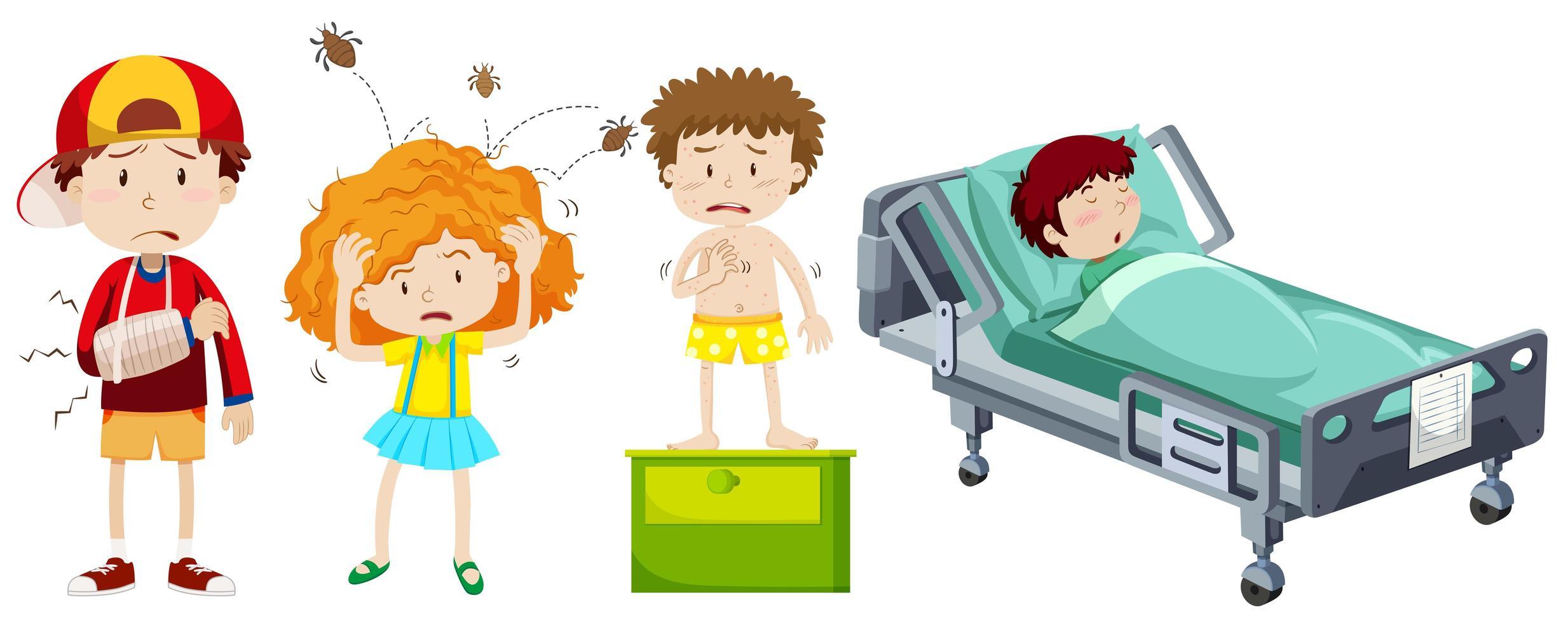 insieme di elementi di bambini malati vettore