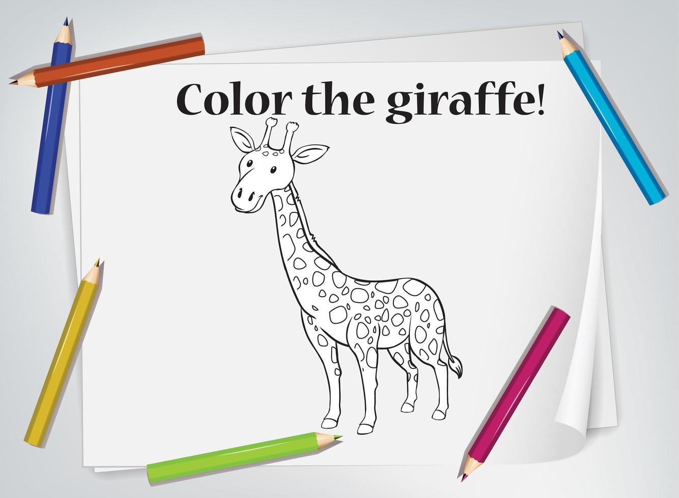 foglio da colorare per bambini giraffa vettore