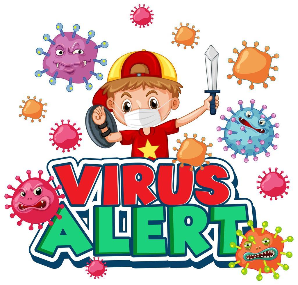 disegno del manifesto di allarme virus con ragazzo vettore