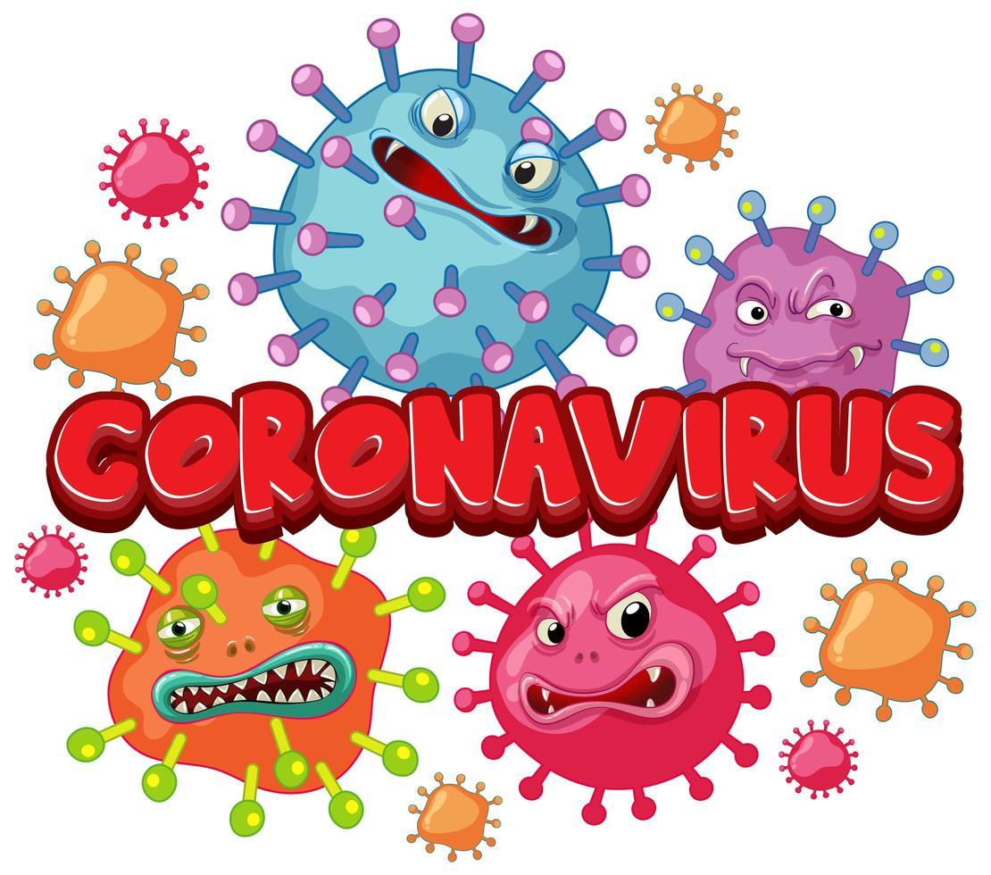 cartellonistica coronavirus con cellule di parole e virus vettore