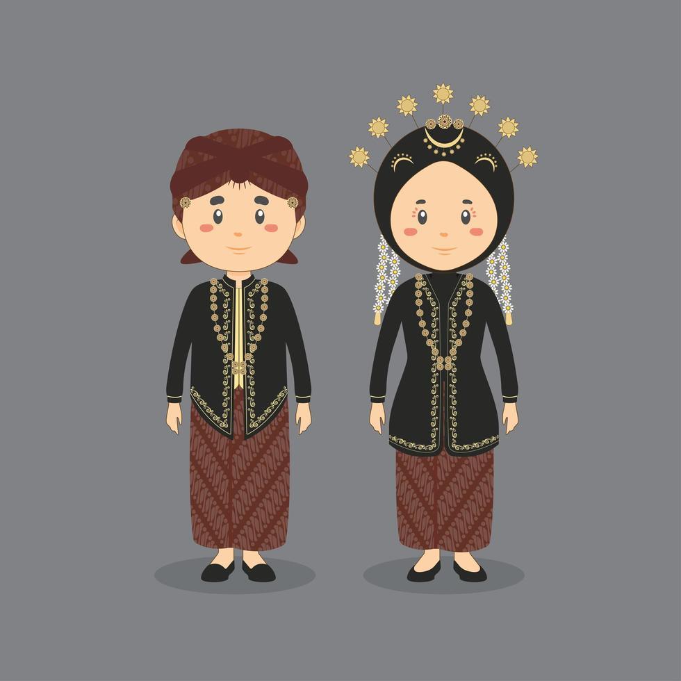 couple, porter, central, java, traditionnel, robe mariage vecteur