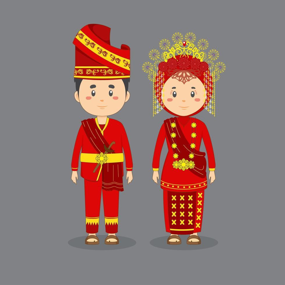 coppia indossa abito tradizionale rosso, oro sumatra occidentale vettore