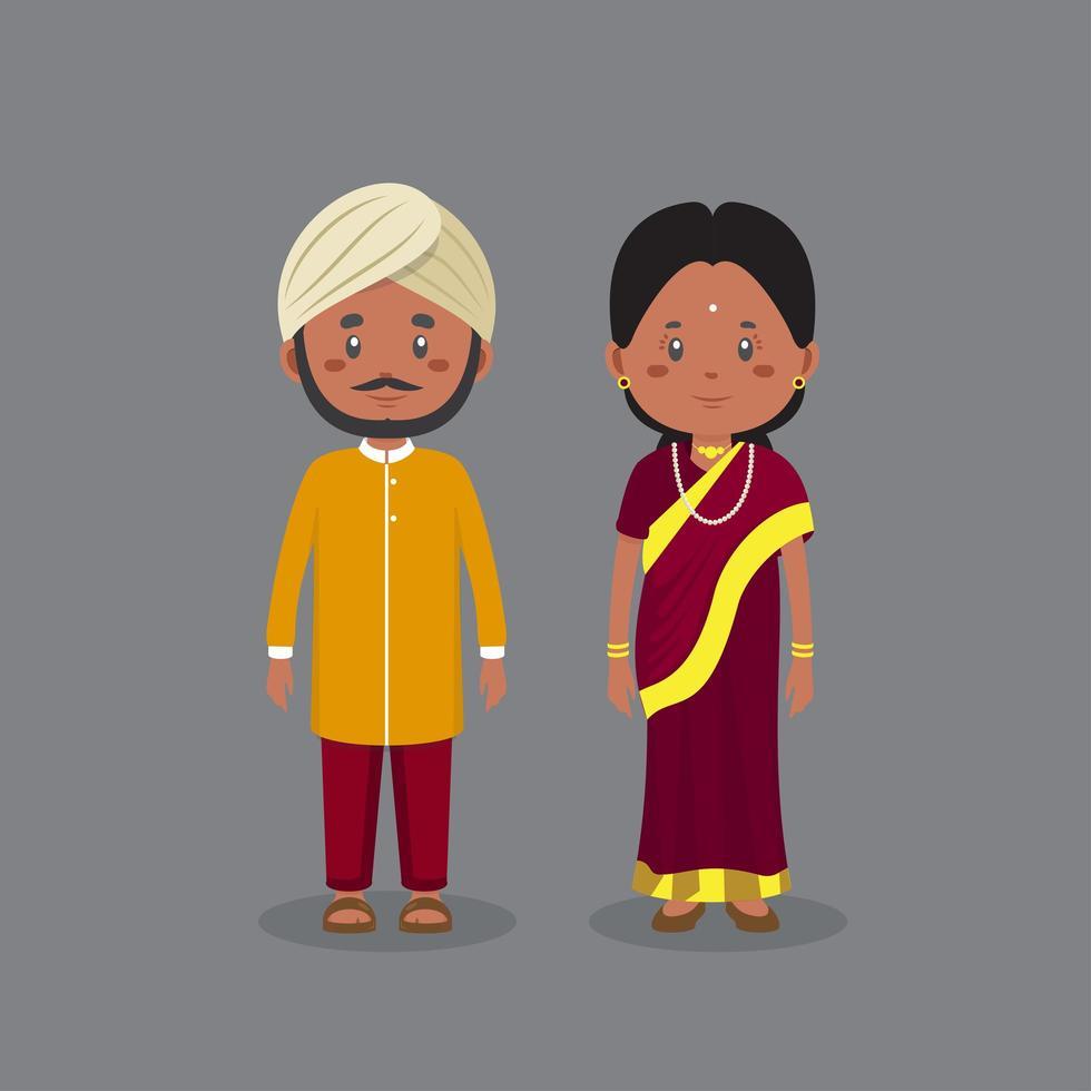 personaggio di coppia indiano che indossa un abito tradizionale vettore