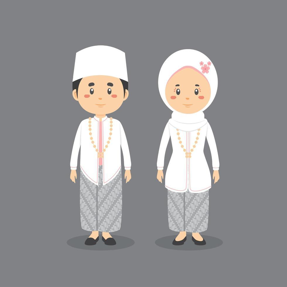 indonesiano personaggio di coppia che indossa l'abito da sposa tradizionale vettore
