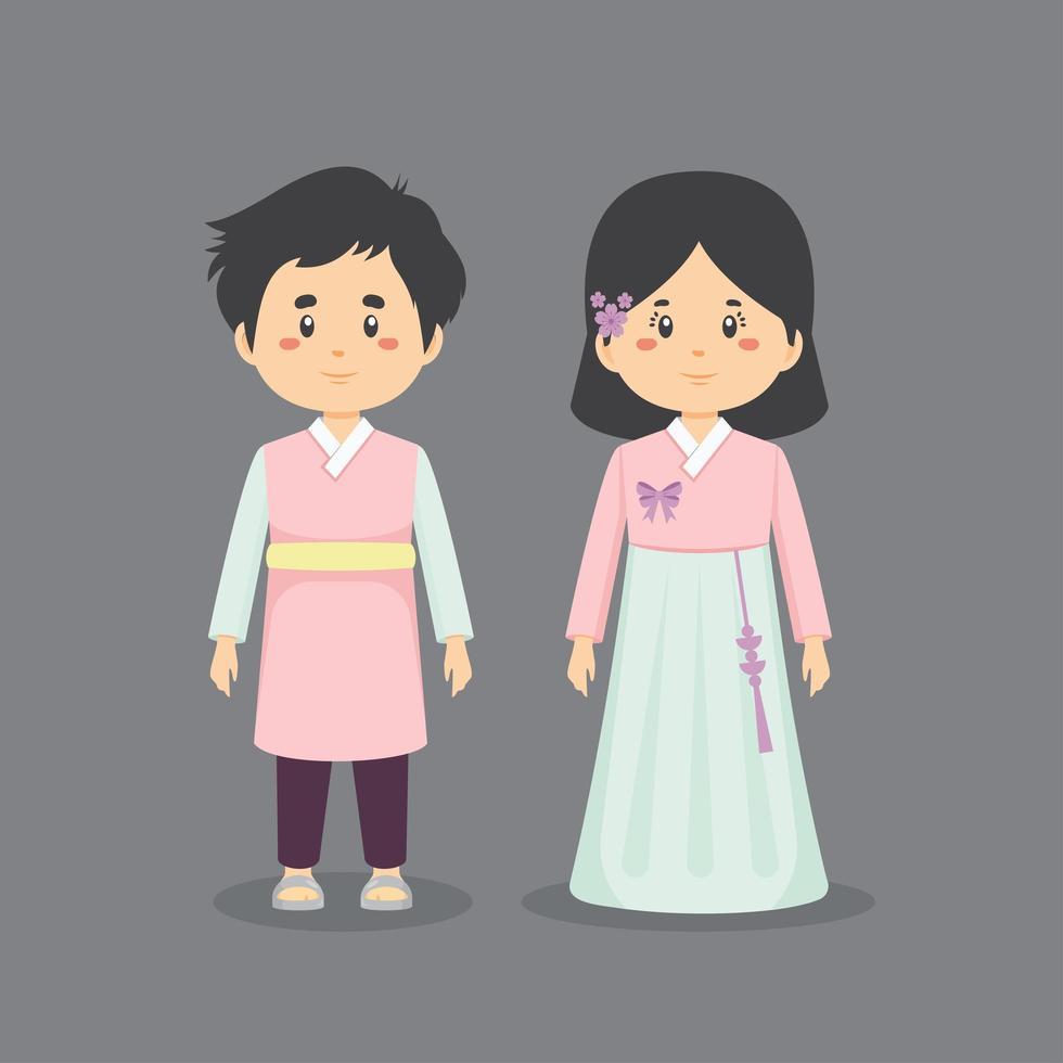 personaggio di coppia Corea del Sud indossando abiti tradizionali vettore