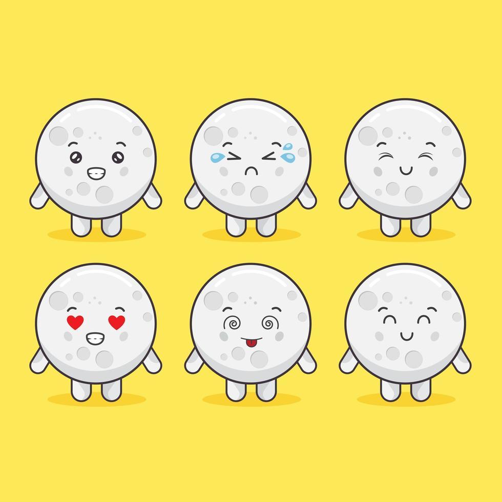 personaggi della luna kawaii con varie espressioni vettore