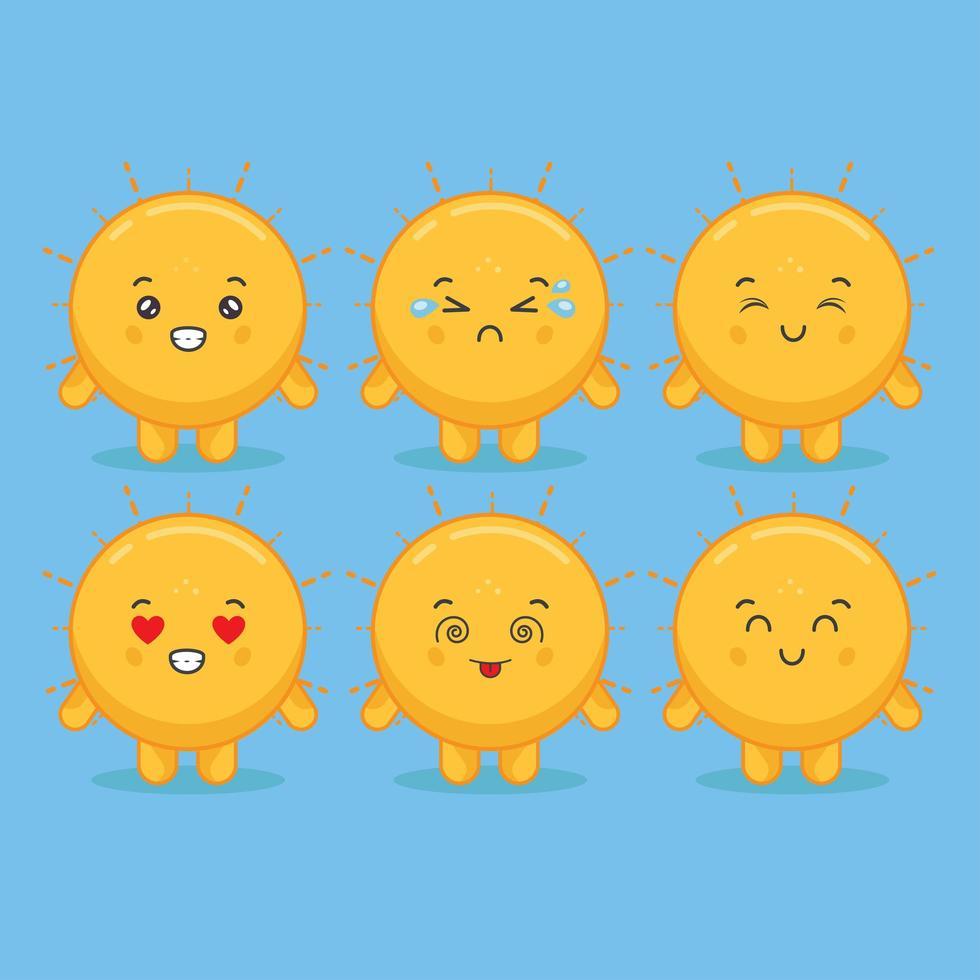 personaggi del sole kawaii con varie espressioni vettore