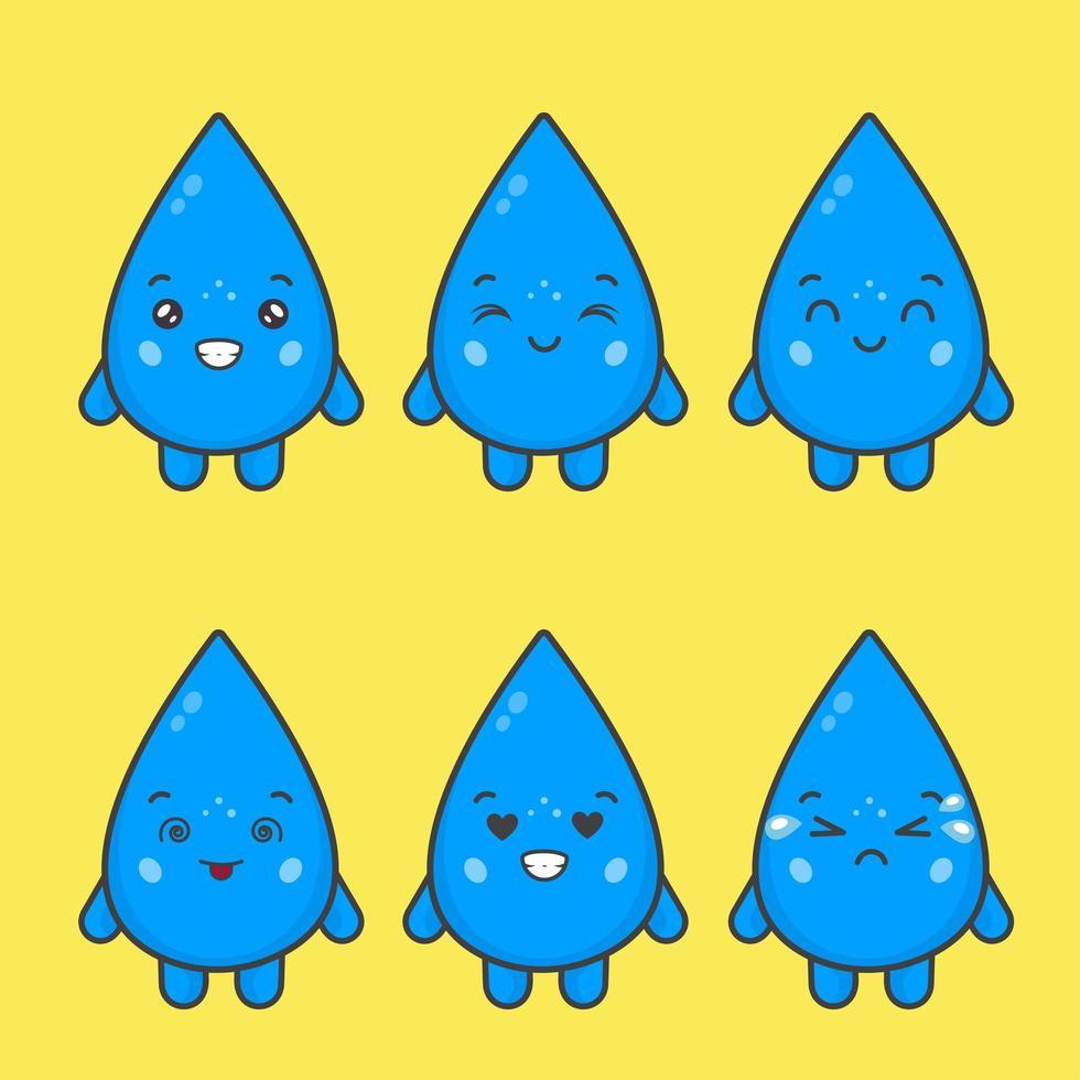 personnages de gouttes d'eau kawaii avec diverses expressions vecteur
