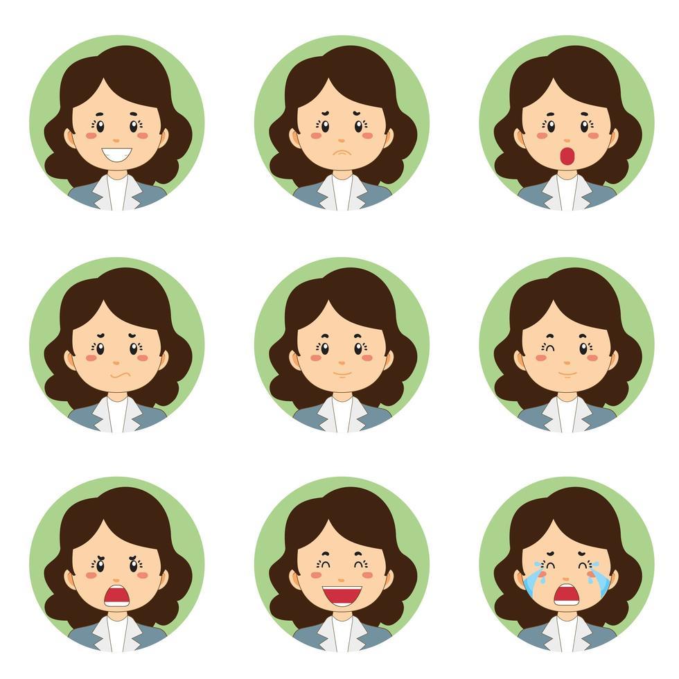 zakenvrouw avatar met verschillende uitdrukkingen vector