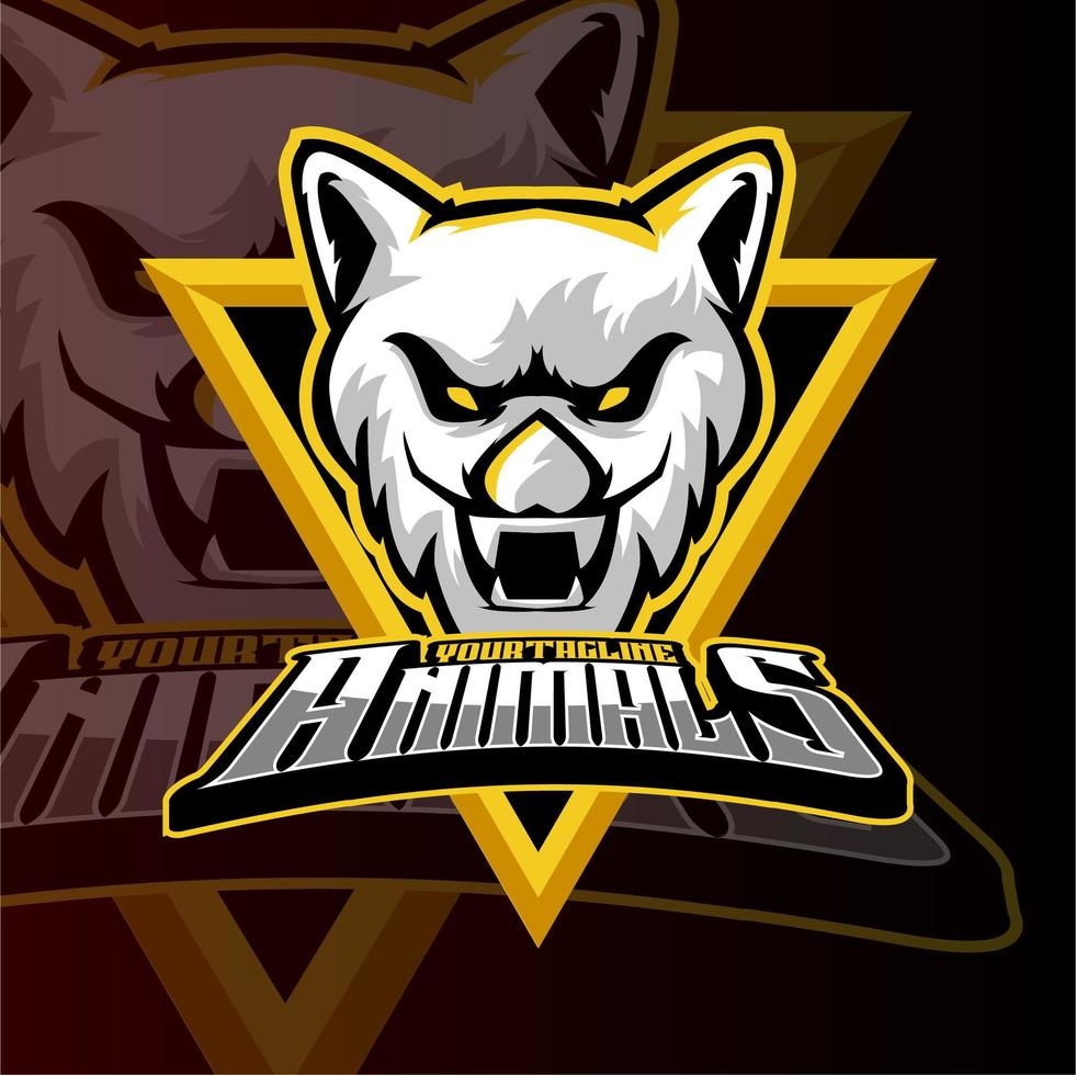 logo di tigre esports di animali da gioco vettore