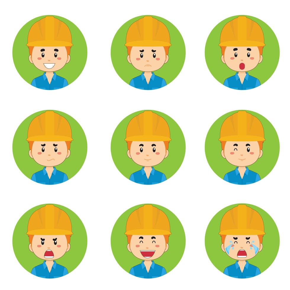 Avatar de travailleurs de la construction avec diverses expressions vecteur