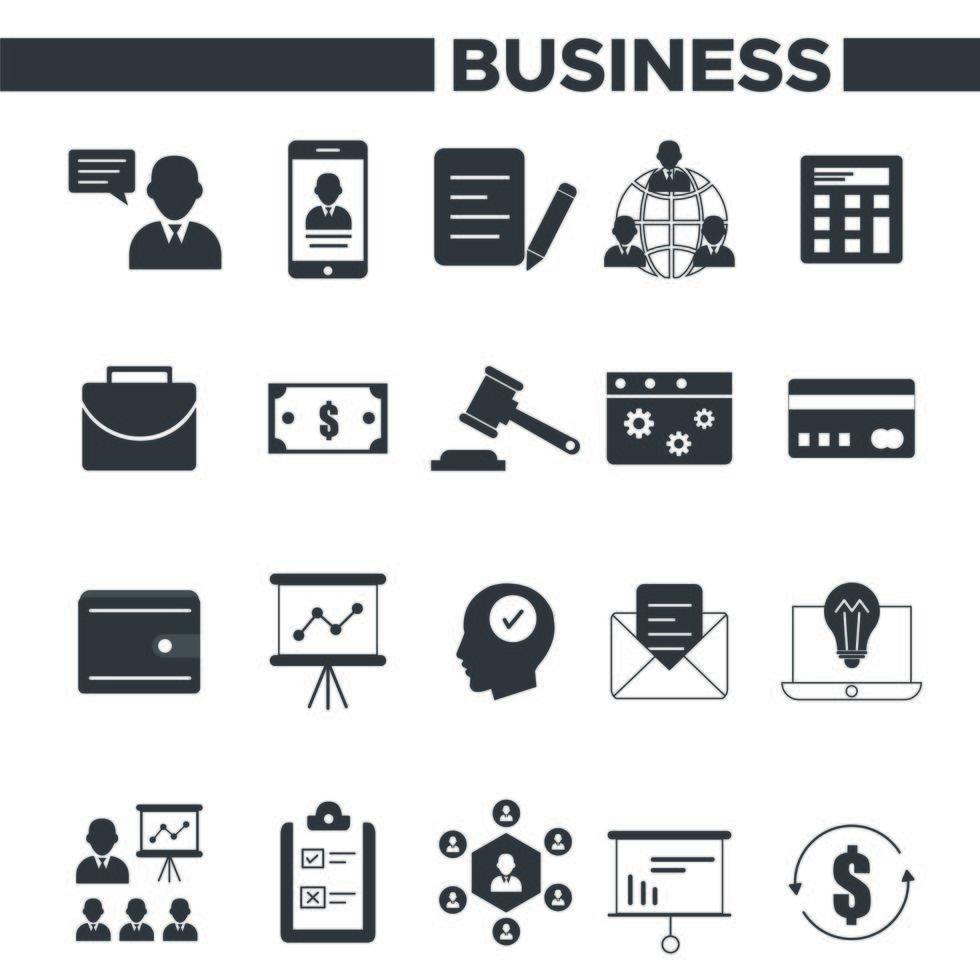 ensemble d'icônes affaires et gestion vecteur