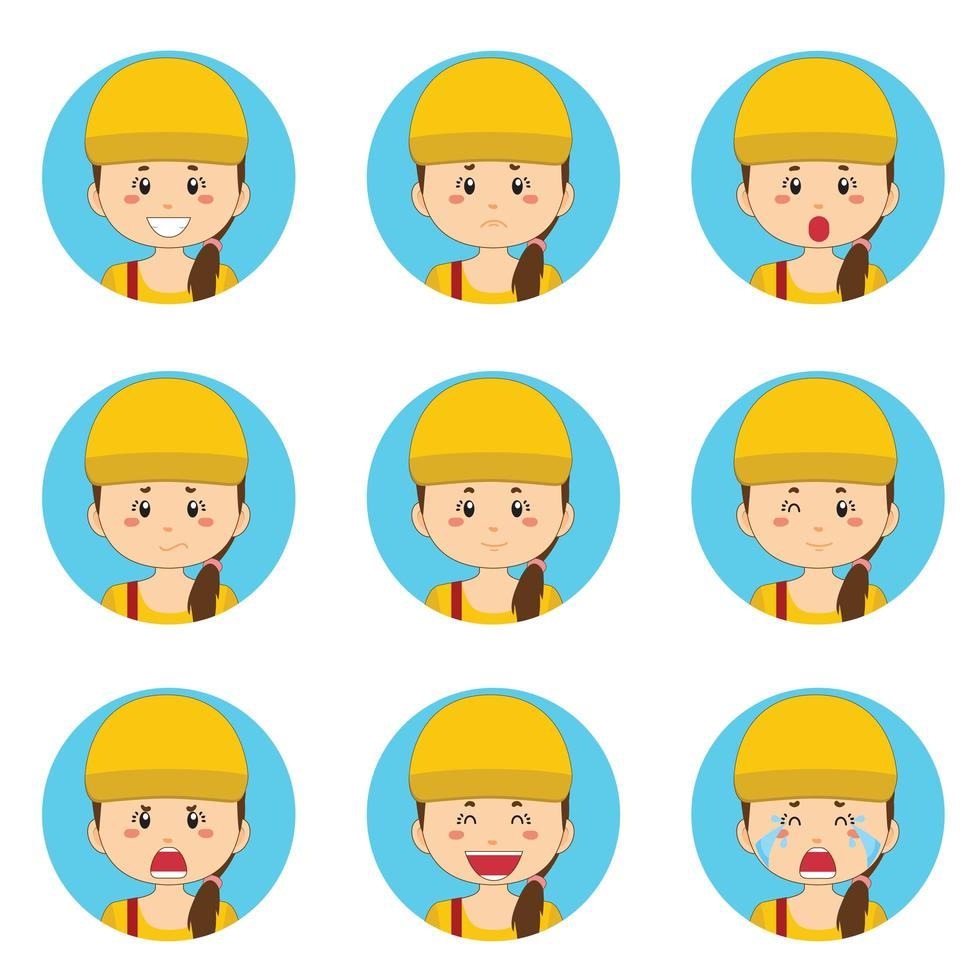 avatar de femme de livraison avec diverses expressions vecteur