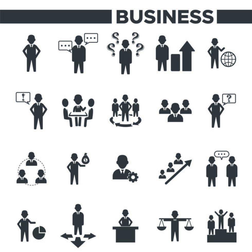 set di icone di gestione aziendale e organizzazione dell'ufficio vettore