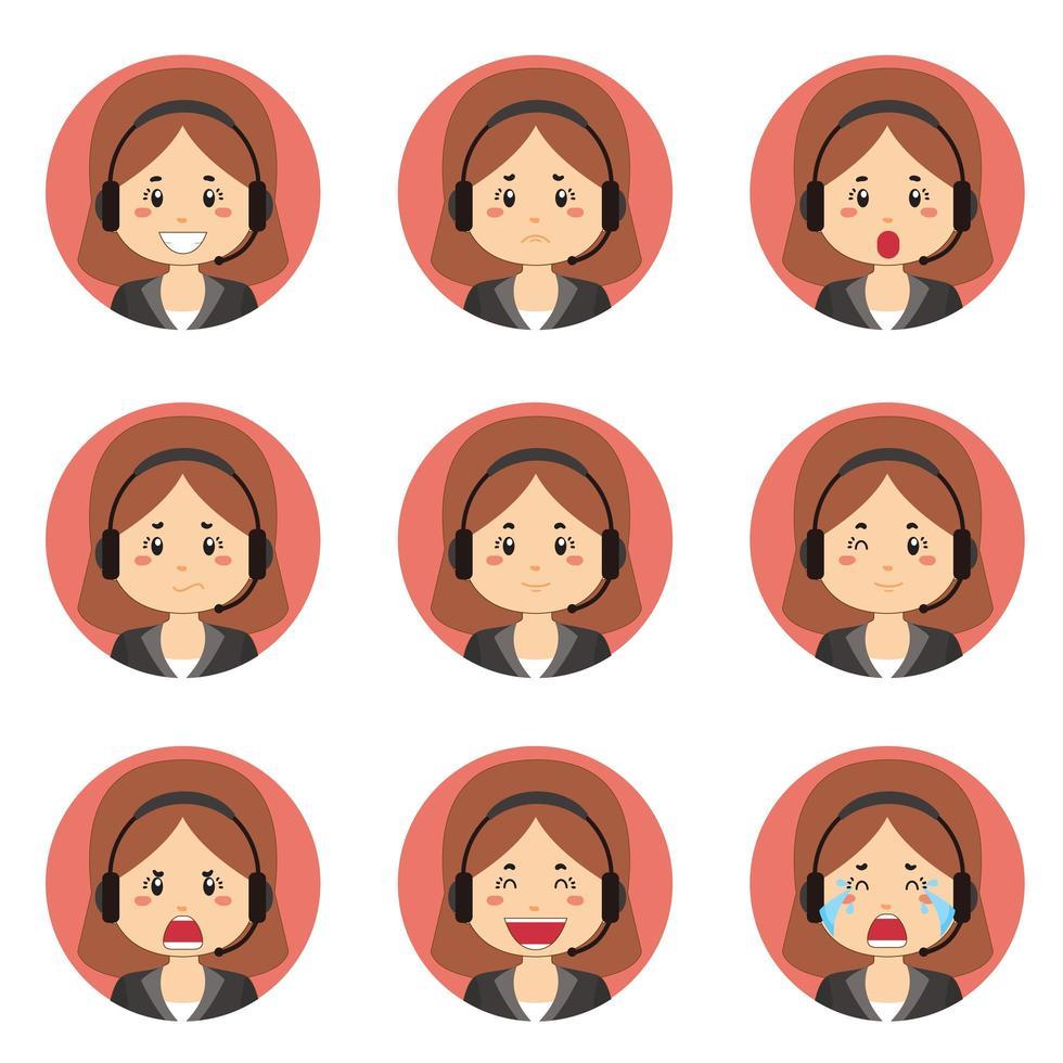 avatar del servizio clienti femminile con varie espressioni vettore