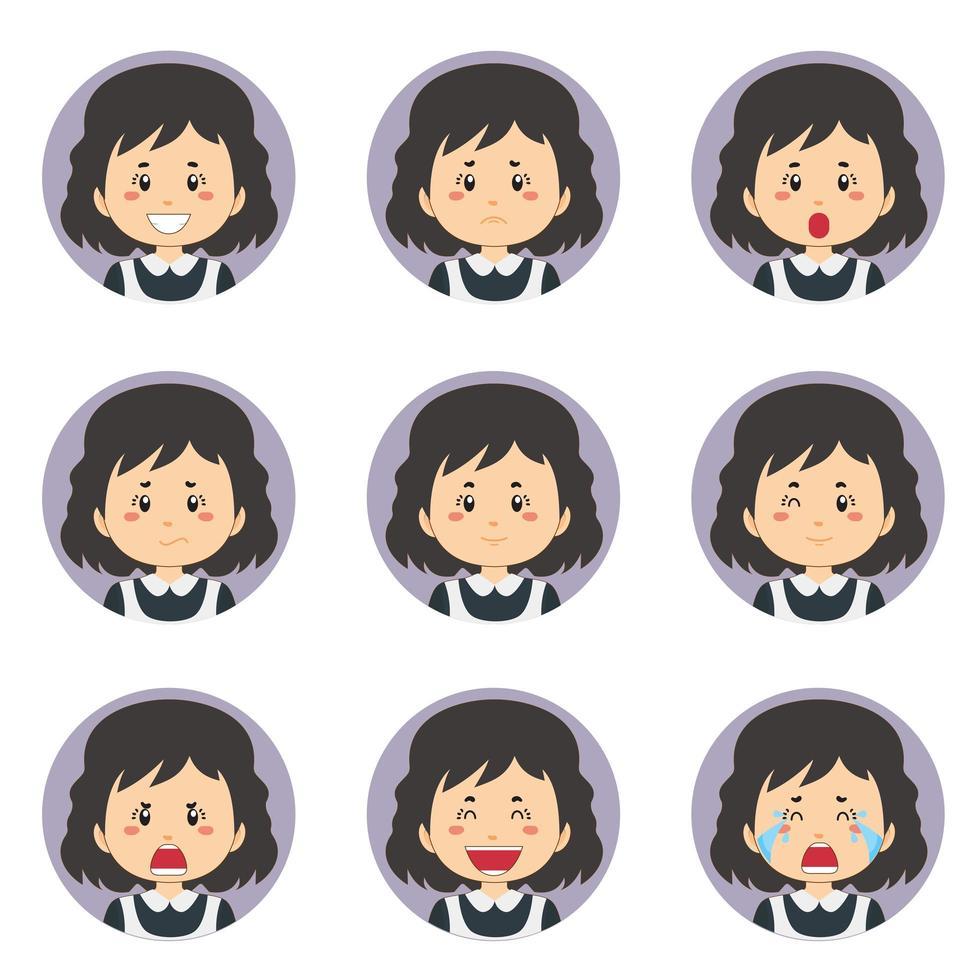 avatar femme de ménage avec diverses expressions vecteur