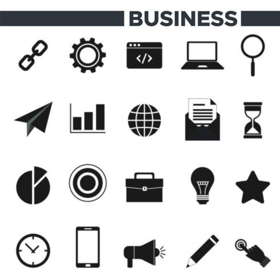 20 icone di affari messe vettore
