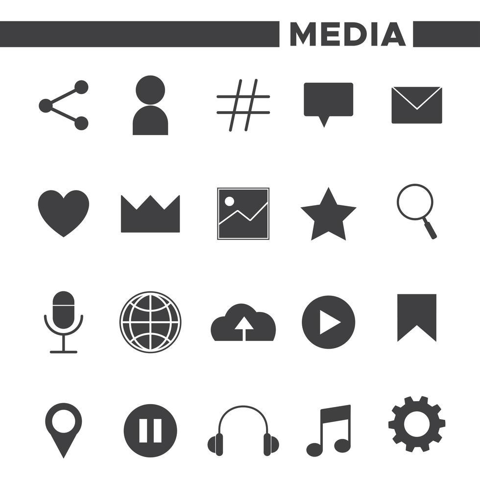 Set di 20 icone social media vettore