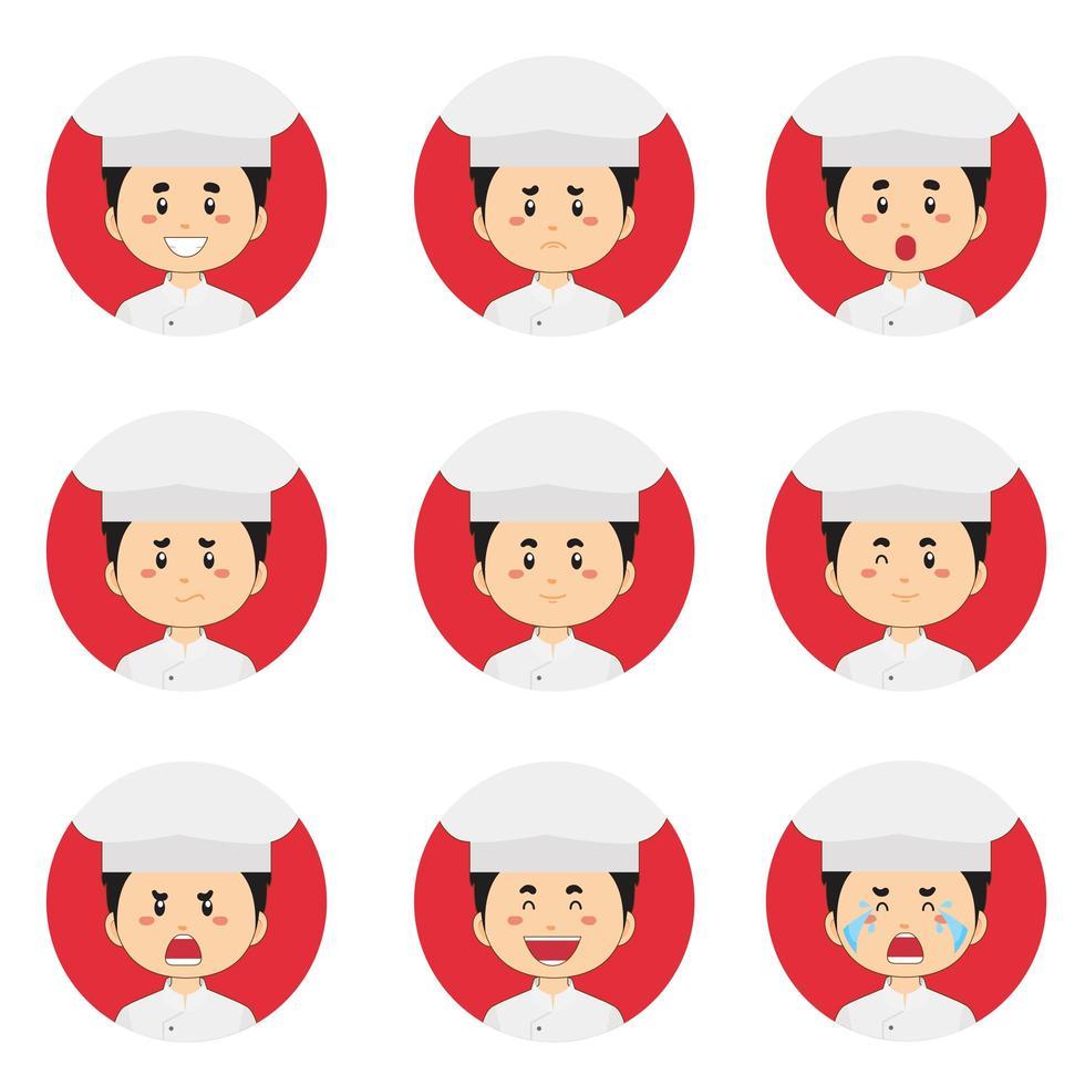 avatar de chef masculin avec diverses expressions vecteur