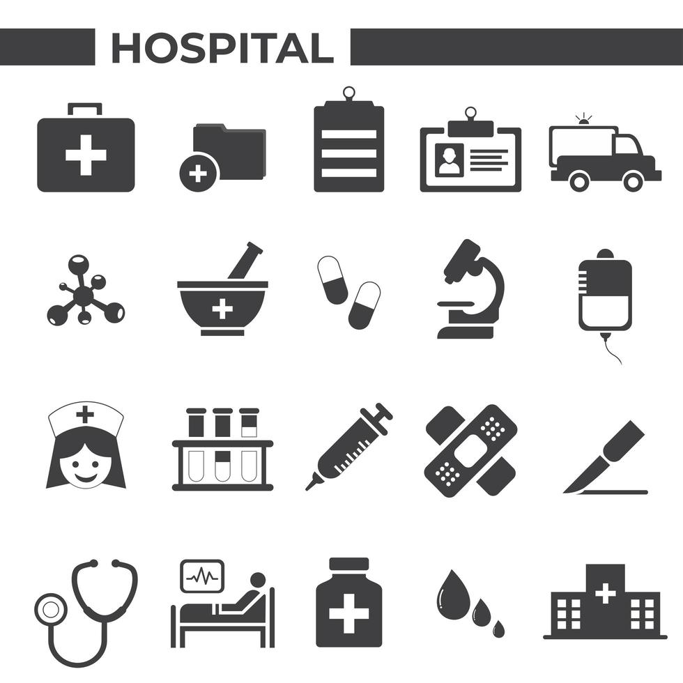 hôpital et icônes médicales définies vecteur