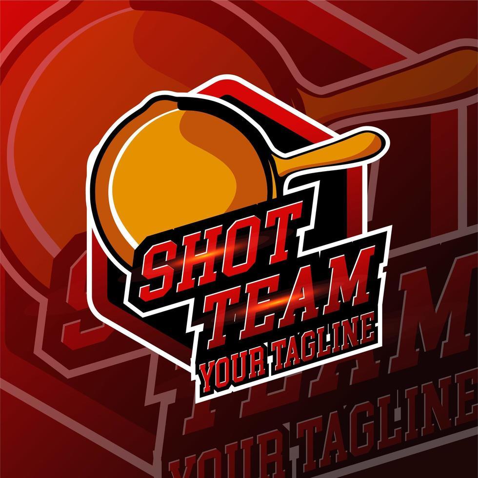 badge de logo de jeu d'équipe esport shot vecteur