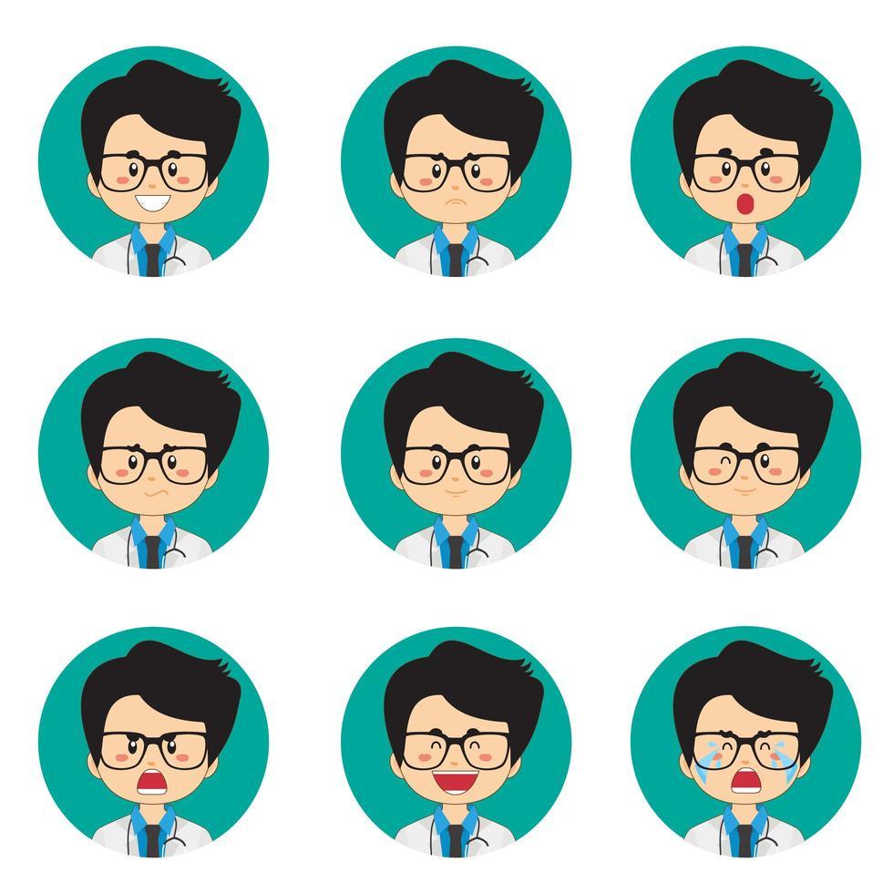 avatar medico maschio con varie espressioni vettore