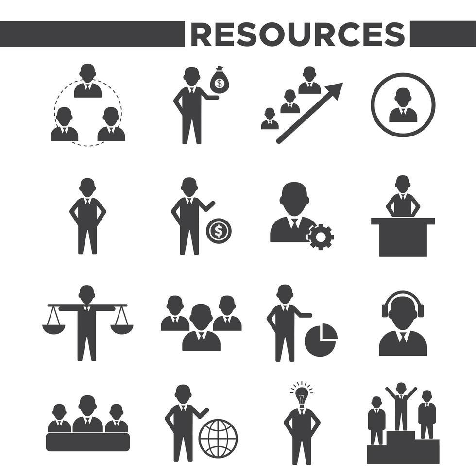 ensemble de 16 icônes de ressources humaines simples vecteur